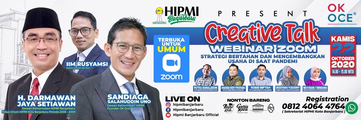CREATIVE TALK HIPMI BANJARBARU WEBINAR 1